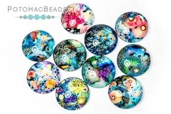[211771] Glass Cabochon 20mm Coral Reef Mix