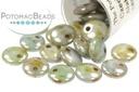 Czech Lentil Beads - Alabaster Blue Luster 6mm