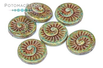 [320603] Fossil Shell Beads - Pale Turquoise Travertine