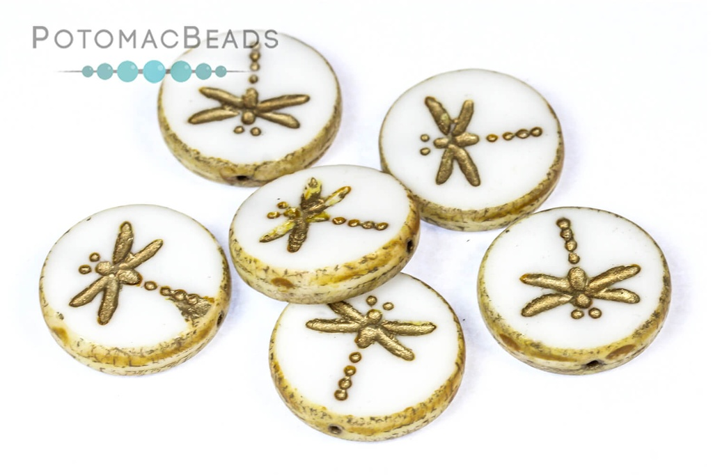 Dragonfly Beads - White Travertine Gold Wash