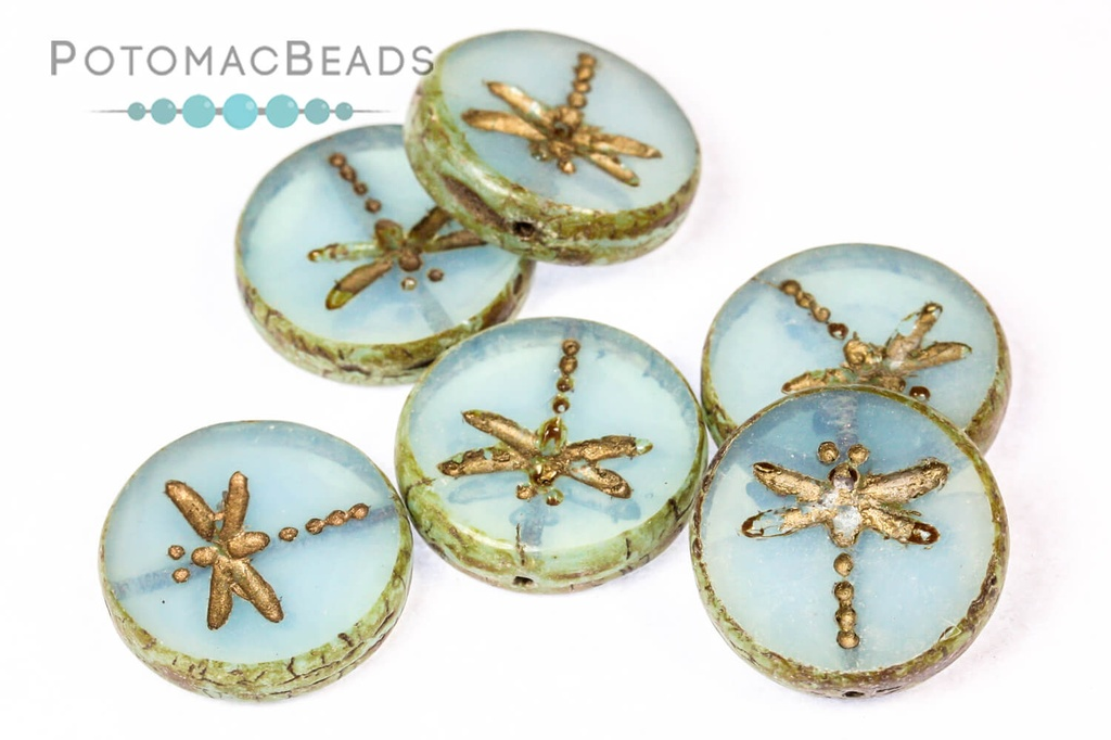 Dragonfly Beads - Blue Opal Travertine Gold Wash