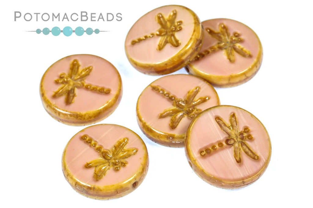Dragonfly Beads - Opaque Rose Travertine