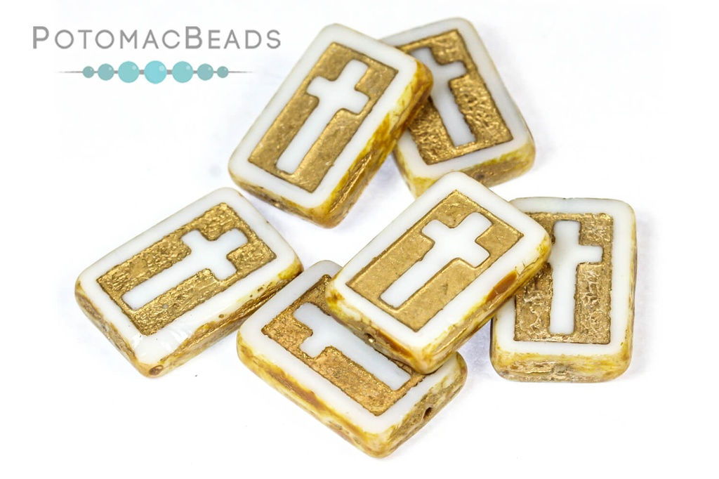 Cross Beads - White Travertine Gold Wash