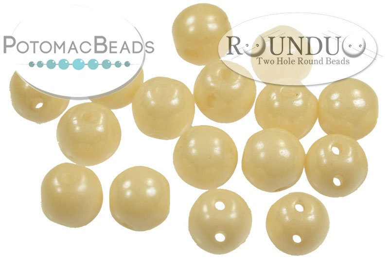 RounDuo Beads - White Champagne Luster (Factory Pack of 600) 5mm