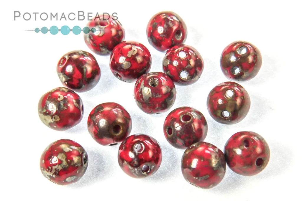 RounDuo Beads - Opaque Red Picasso (Factory Pack of 600) 5mm