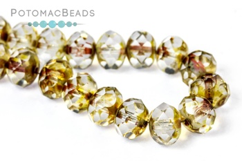 [66054] Czech Faceted Rondelle Beads 6x9mm - Crystal Travertine (pack of 25)