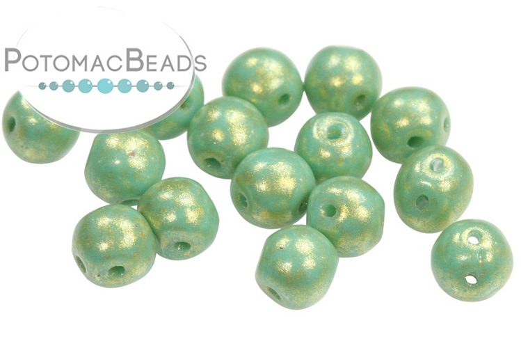 RounDuo Beads - Jade Gold Marbled (Pack of 75) 5mm (closeout)