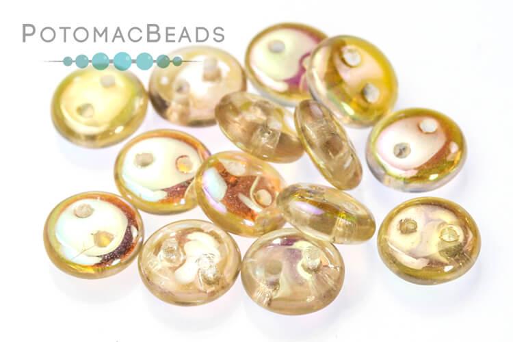 CzechMates 2-Hole Lentil Beads - Crystal Yellow Rainbow
