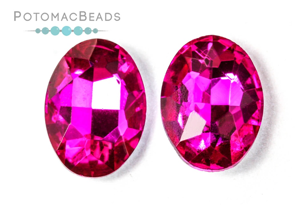 Potomac Crystal Ovals - Fuchsia 13x18mm (Pack of 2)