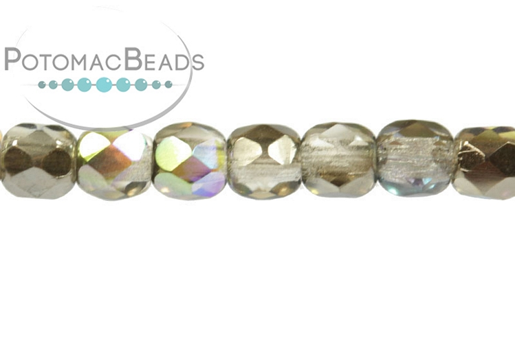 Czech Faceted Round Beads - Crystal Graphite Rainbow 3mm