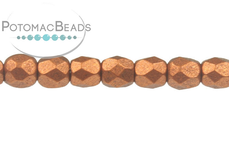 Czech Faceted Round Beads - Copper 3mm