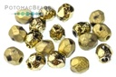Czech Faceted Round Beads - Etched Amber Full 4mm