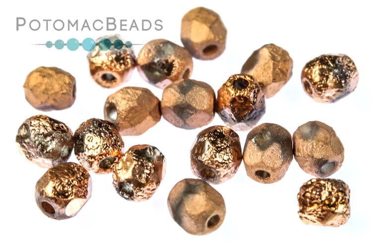 Czech Faceted Round Beads - Etched Capri Gold Full 4mm