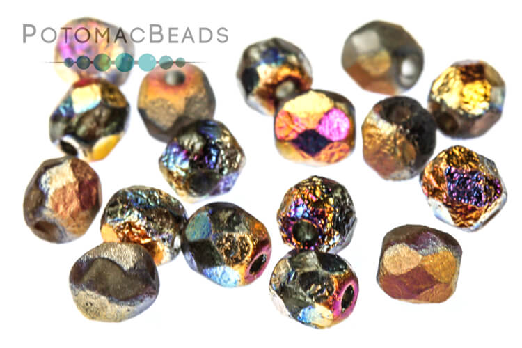 Czech Faceted Round Beads - Etched Sliperit Full 4mm