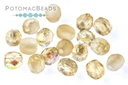 Czech Faceted Round Beads - Etched Lemon Rainbow