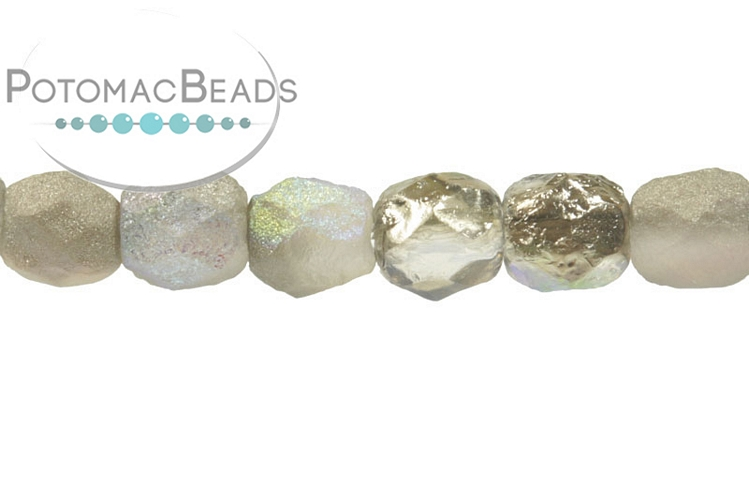 Czech Faceted Round Beads - Etched Graphite Rainbow 4mm