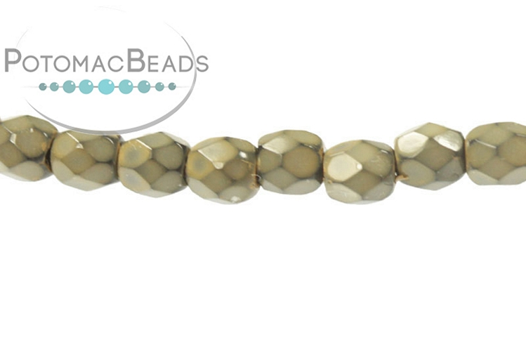 Czech Faceted Round Beads - Snake Sand 3mm
