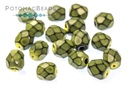 Czech Faceted Round Beads - Snake Spruce 4mm