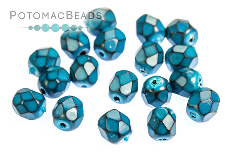 Czech Faceted Round Beads - Snake Turquoise 4mm