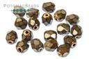 Czech Faceted Round Beads - Snake Mushroom 4mm