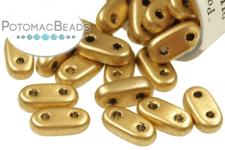 2-Hole Bar Beads - Aztec Gold (Metallic Flax) 2x6mm