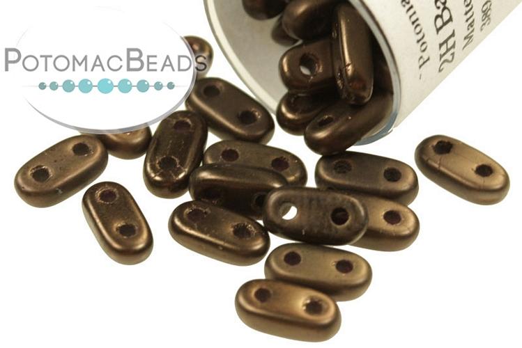 2-Hole Bar Beads - Dark Bronze Matte 2x6mm (Closeout)