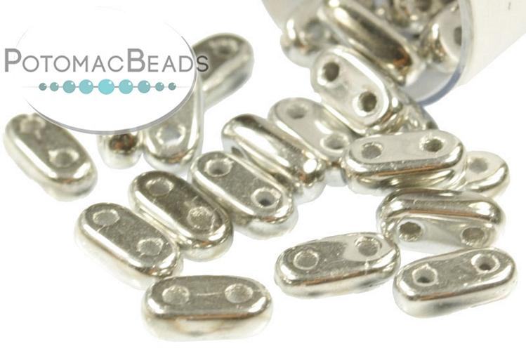 2-Hole Bar Beads - Silver (Crystal Labrador Full)  2x6mm