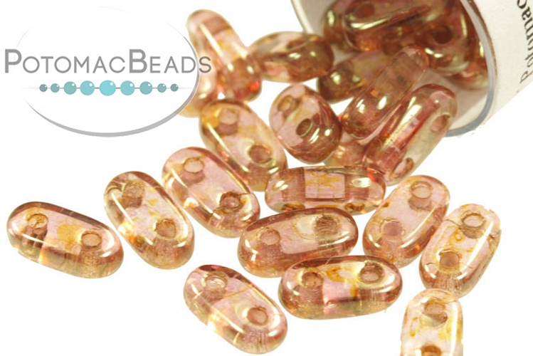 2-Hole Bar Beads - Rose/Gold Topaz Luster 2x6mm (Closeout)