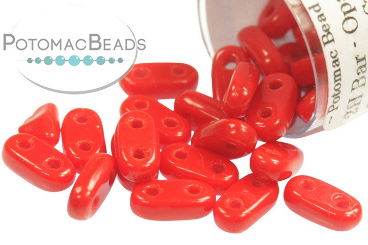 2-Hole Bar Beads - Opaque Red 2x6mm