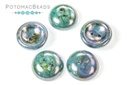 Cup Buttons - White Blue Luster (30 pack)