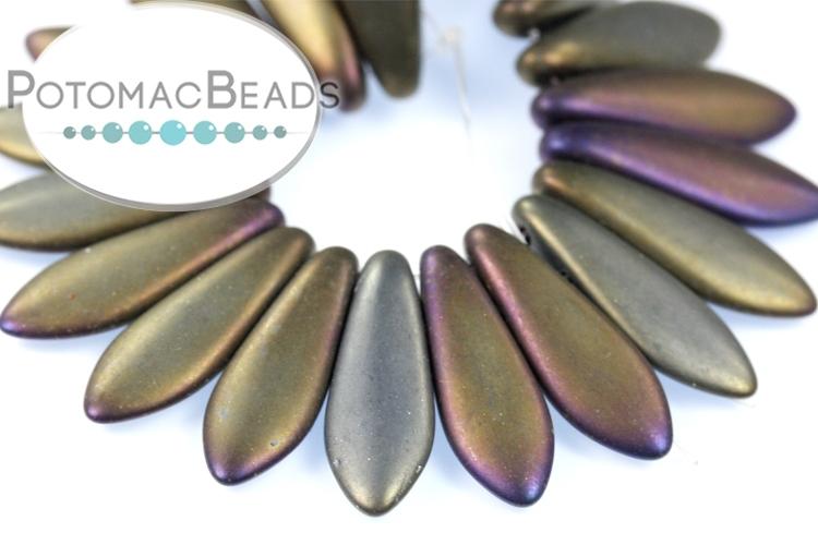 2-Hole Dagger Beads - Brown Iris Matte 5x16mm