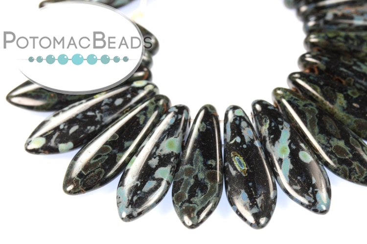 2-Hole Dagger Beads - Jet Picasso 5x16mm