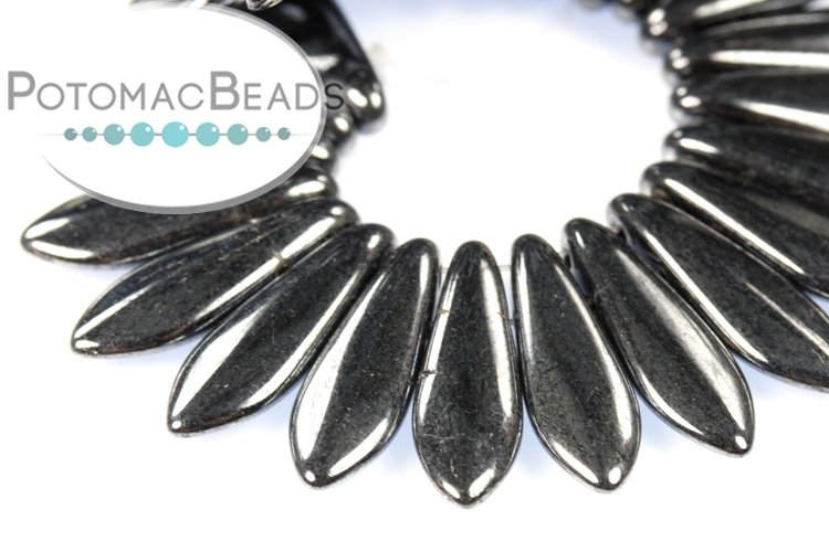 2-Hole Dagger Beads - Hematite 5x16mm