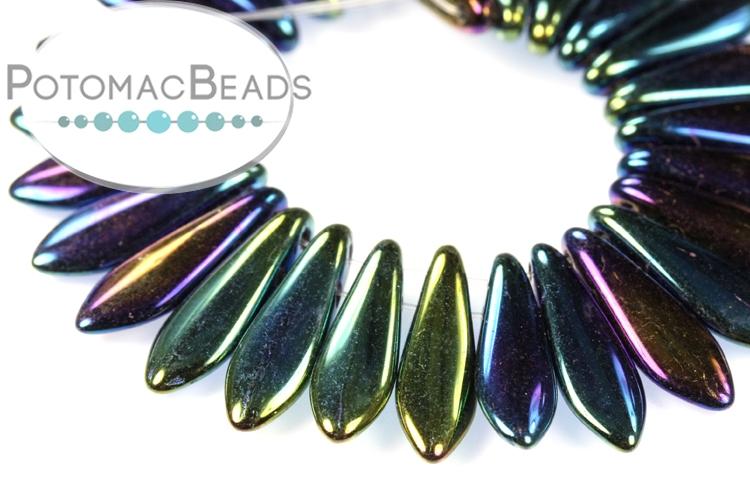 2-Hole Dagger Beads - Blue Iris 5x16mm
