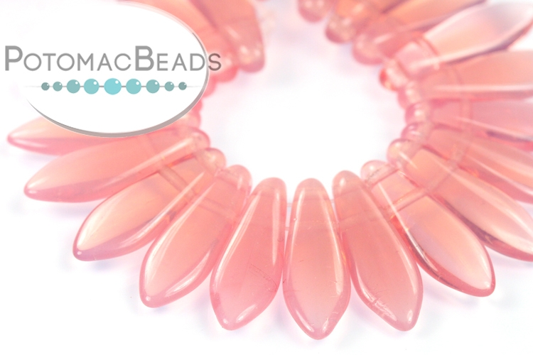 2-Hole Dagger Beads - Milky Pink 5x16mm