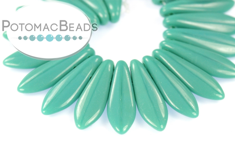 2-Hole Dagger Beads - Persian Turquoise 5x16mm