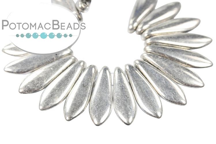 2-Hole Dagger Beads - Silver 5x16mm