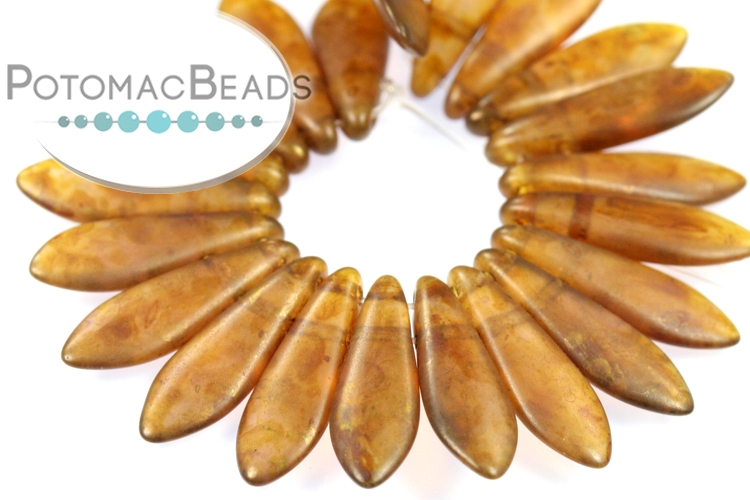 2-Hole Dagger Beads - Milky Pink Copper Picasso 5x16mm