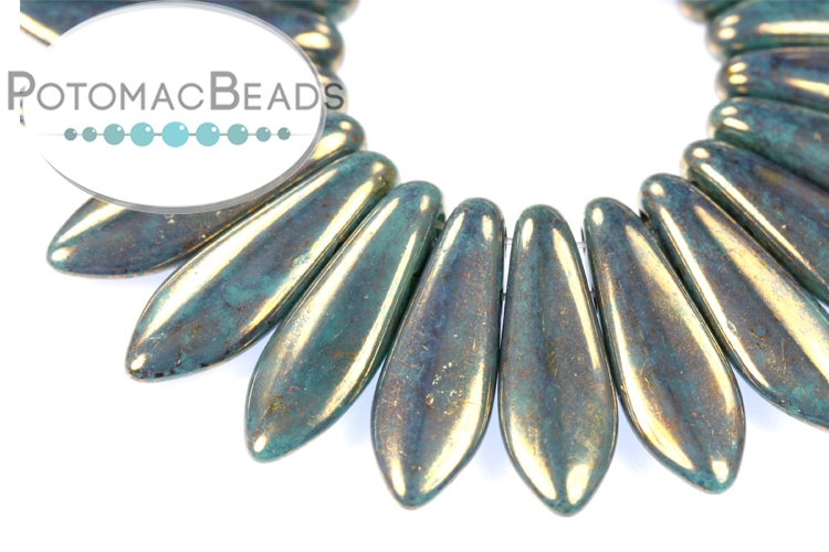 2-Hole Dagger Beads - Persian Turquoise Bronze Picasso 5x16mm