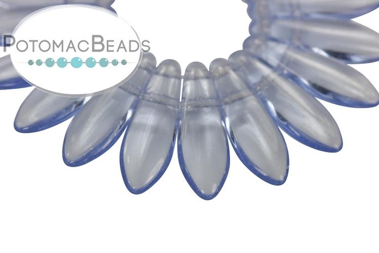 2-Hole Dagger Beads - Light Sapphire 5x16mm