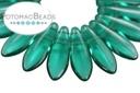 2-Hole Dagger Beads - Emerald 5x16mm
