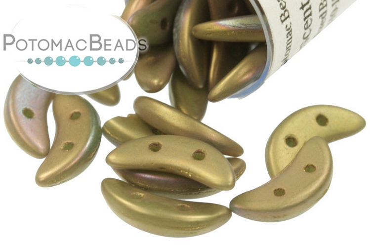 Crescent Beads - Oxidized Bronze Clay 3x10mm