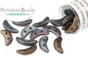 Crescent Beads - Jet Matte Bronze Vega 3x10mm