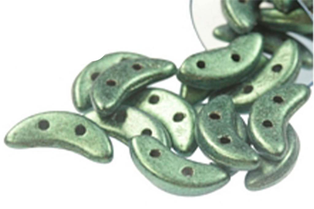 Crescent Beads - Light Green Metallic Suede 3X10mm