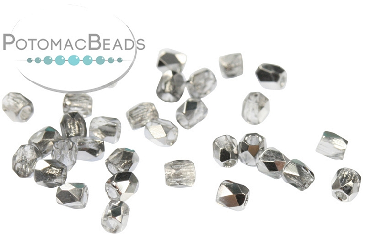 Czech Faceted Round Beads - Crystal Labrador  2mm