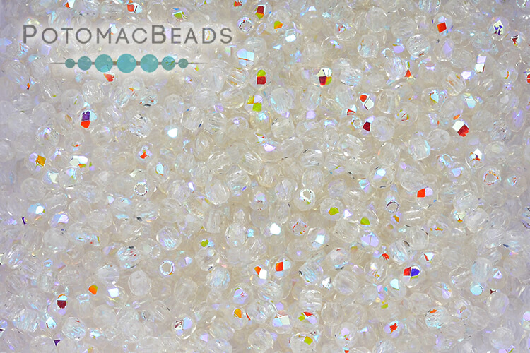 Czech Faceted Round Beads - Crystal AB 2mm