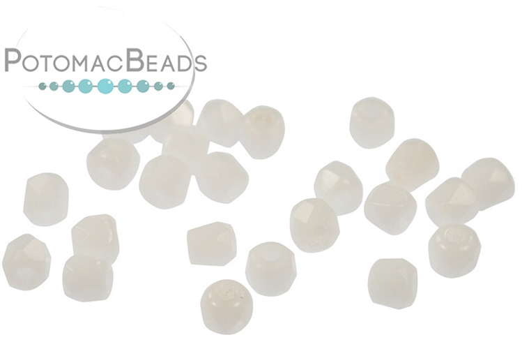 Czech Faceted Round Beads - White 2mm