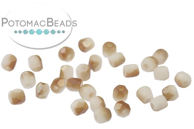 Czech Faceted Round Beads - White Celsian Matted 2mm