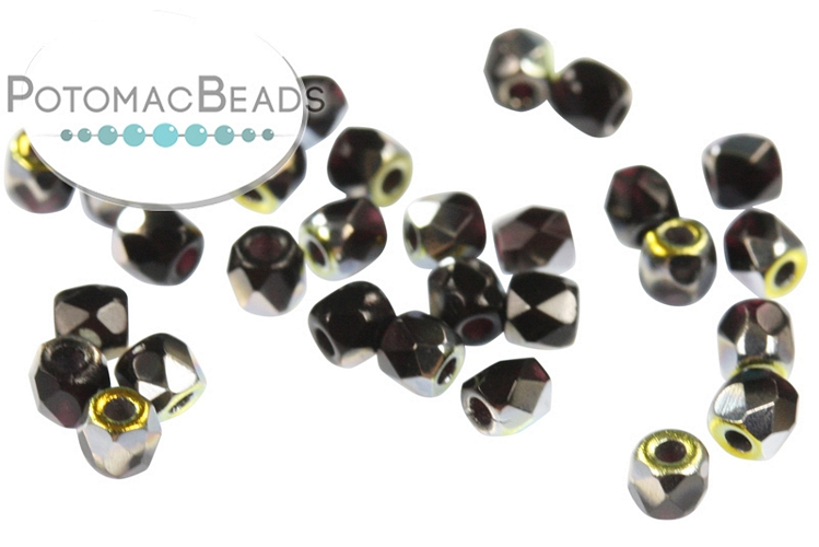 Czech Faceted Round Beads - Jet Marea 2mm