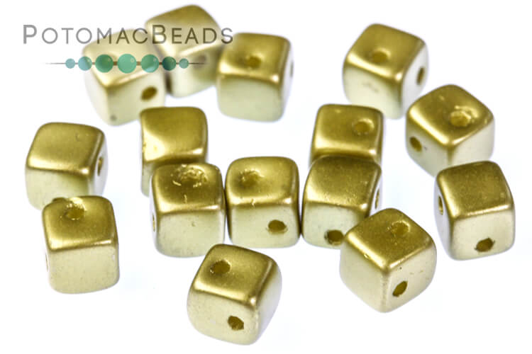 Crisscross Cube Beads - Pastel Lime (closeout)